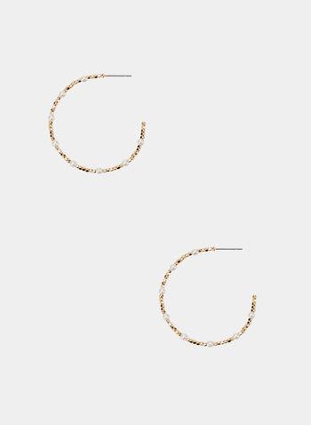 Créoles dorées à petites perles, Blanc cassé, hi-res