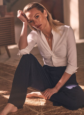 Jospeh Ribkoff - Twist Front Blouse, White,  top, blouse, long sleeves, v-neck, twist, spring summer 2021