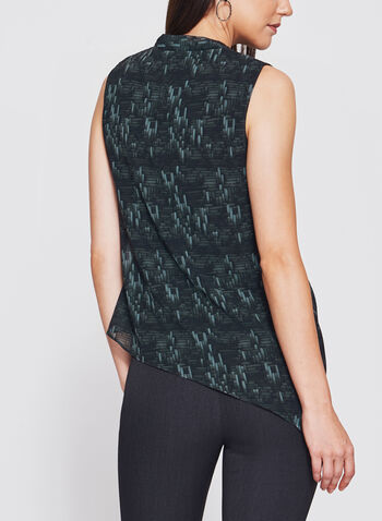 Geometric Print Asymmetric Wrap Top, Green, hi-res