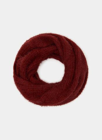 Plush Knit Infinity Scarf, Pink, hi-res