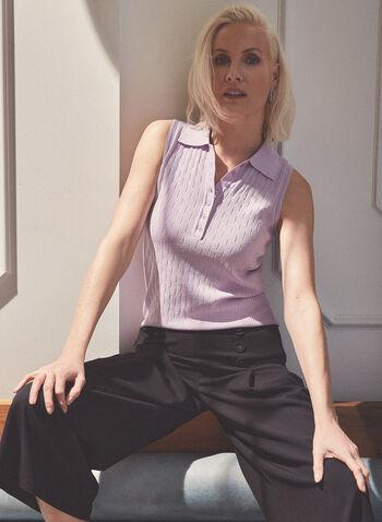 Polo sans manches en tricot pointelle, Violet,  polo, sans manches, tricot, pointelle, col chemisier, boutons, printemps été 2020