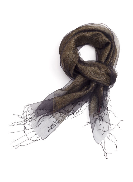 Lurex Sheer Silk Wrap Scarf, Black, hi-res