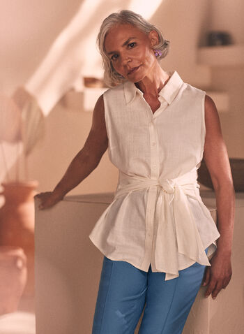 Tunique sans manches à ceinture, Blanc cassé,  haut, top, blouse, tunique, sans manches, boutons, ceinture, lin, printemps été 2021