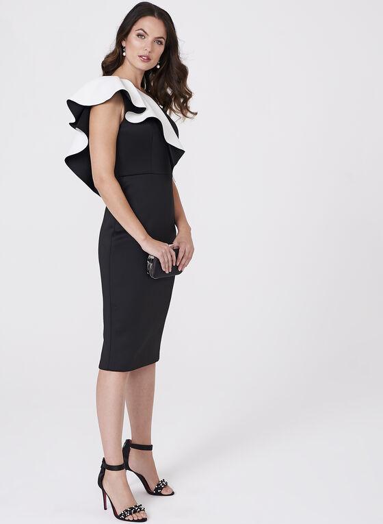 Aidan Mattox - Ruffle Trim One Shoulder Scuba Dress , Black, hi-res