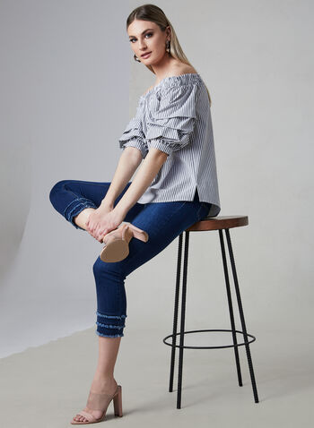 Stripe Print Off-the-Shoulder Top, White, hi-res,  cotton, balloon sleeves, pintuck sleeves, ¾ sleeves, 3/4 sleeves, spring 2019