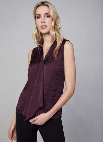 Sleeveless Satin Blouse, Purple, hi-res,  sleeveless, blouse, satin, V-neck, tie, fall 2019, winter 2019