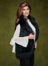 Sleeveless Fur Vest , Black, hi-res