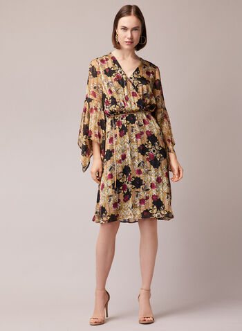 Floral Print Handkerchief Sleeve Dress, Multi,  cocktail dress, floral, crossover, v-neck, belt, chiffon, handkerchief sleeves, fall winter 2020