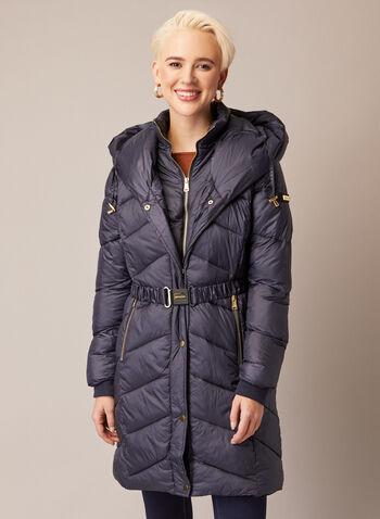 Bernardo - Manteau ceinturé en duvet végane, Vert,  automne hiver 2020, manteau, bernardo, matelassé, duvet, végane, polyester, nylon, capuchon, poches, plastron, manteau d'hiver
