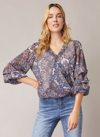 Paisley Print Balloon Sleeve Blouse, Multi,  blouse, balloon sleeves, chiffon, paisley, ruched, crossover, fall winter 2020