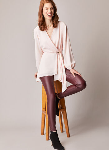 Asymmetric Faux Wrap Tunic Blouse, Pink,  top, blouse, tunic, asymmetric, long sleeves, wrap, fall winter 2020
