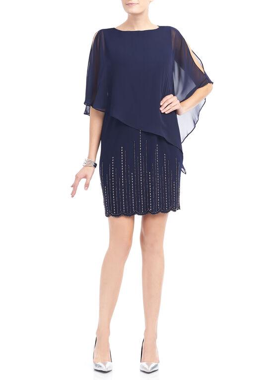 Beaded Chiffon Overlay Dress, Blue, hi-res