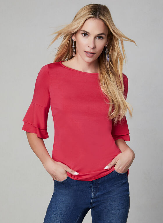 ¾ Ruffle Sleeve Top, Pink, hi-res