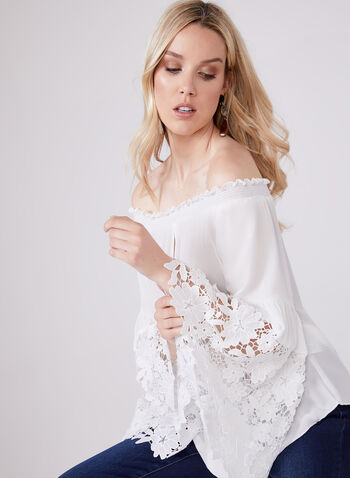 Joseph Ribkoff - Bell Sleeve Off The Shoulder Blouse, Off White, hi-res