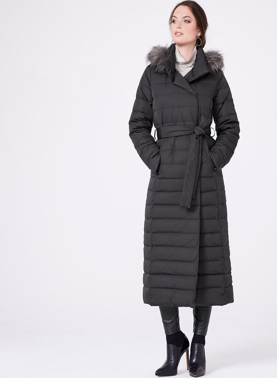 Long Quilted Faux Down Coat, Black, hi-res