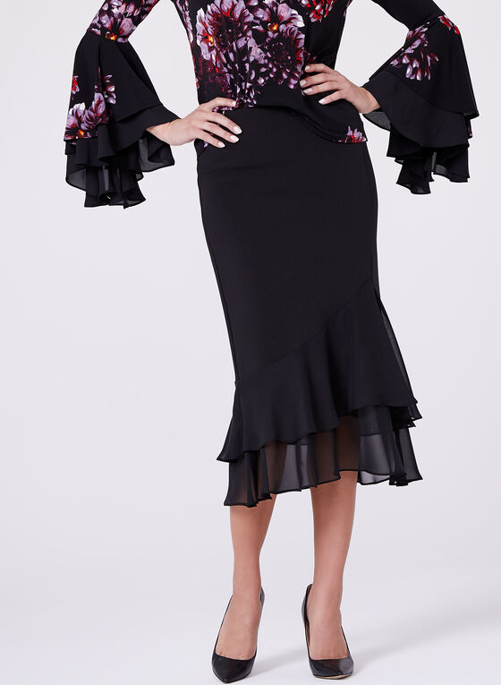 Ruffled Chiffon Hem Pencil Skirt, Black, hi-res