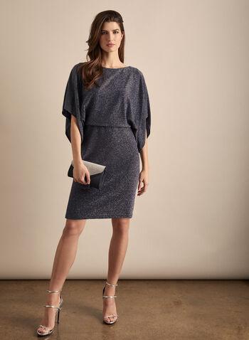 Dolman Sleeve Glitter Dress, Blue,  dress, cocktail, glitter, dolman, blouson, elastic waist, drape, lined, spring summer 2020