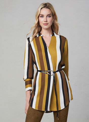 Stripe Print Tunic Blouse, Brown, hi-res,  blouse, tunic, long sleeves, stripe print, collar, fall 2019, winter 2019