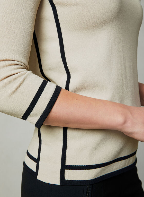 Pull à manches ¾ et bordures contrastantes, Blanc cassé
