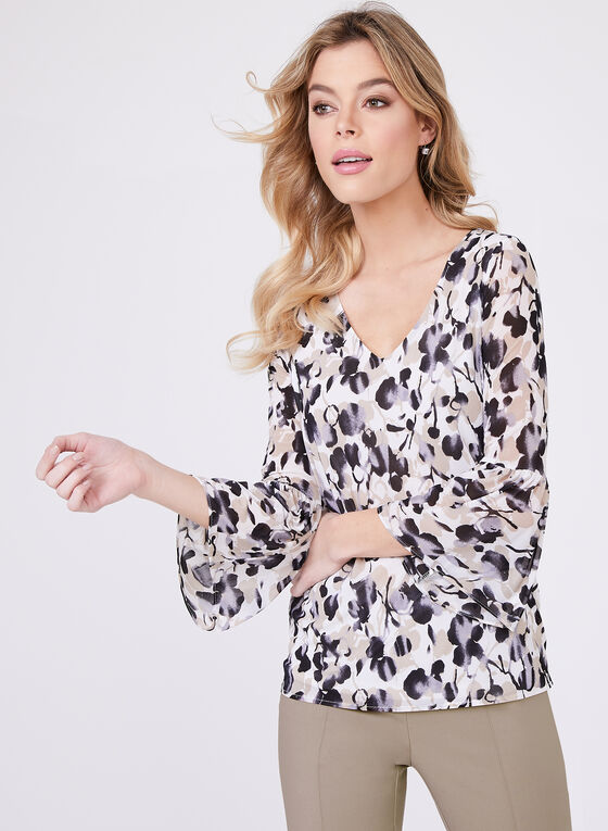 ¾ Bell Sleeve Chiffon Top , White, hi-res
