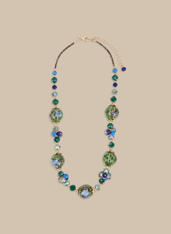 Faceted Bead Necklace, Green,  necklace, beads, spring 2020, summer 2020