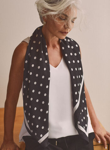 Polka Dot Print Lightweight Scarf, Black,  scarf, lightweight, square, polka dot, spring summer 2021