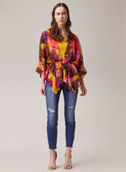 Blouse kimono à fleurs, Multi