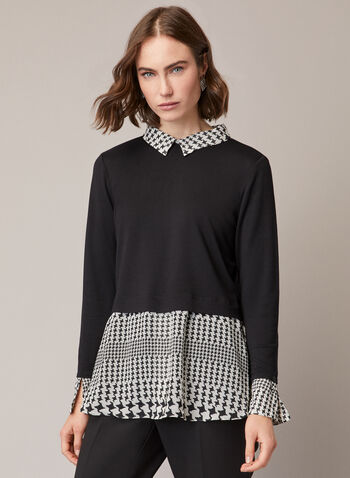 Two-Tone Fooler Tunic, Black,  fall winter 2020, top, tunic, long sleeves, houndstooth, contrast, two-tone, shirt collar