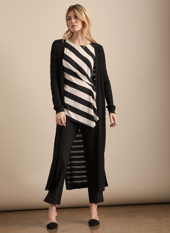 Stripe Print Asymmetric Top, Black,  top, cap sleeves, scoop neck, striped, pleated, asymmetric, jersey, spring summer 2020