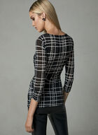 Plaid Print Micro Mesh Top, Black, hi-res
