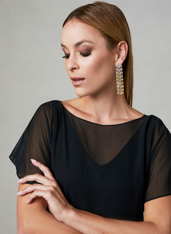 Adrianna Papell - Robe asymétrique à effet nœud, Noir, hi-res
