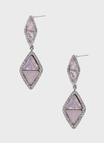 Dangling Diamond Shape Earrings, Pink, hi-res