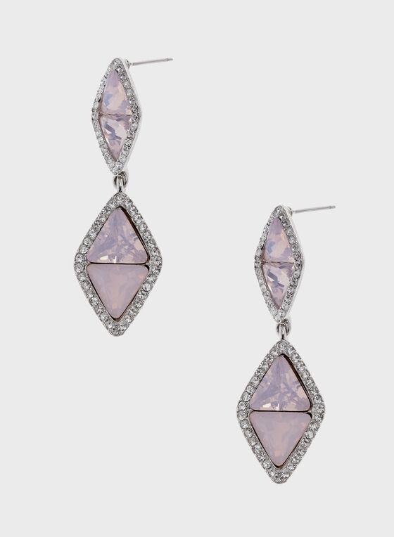 Dangling Diamond Shape Earrings, Pink, hi-res