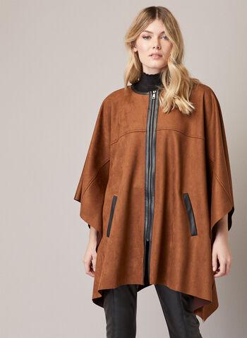 Cape zippée en faux suède, Brun,  automne hiver 2020, cape, poncho, suède, manteau, drapé