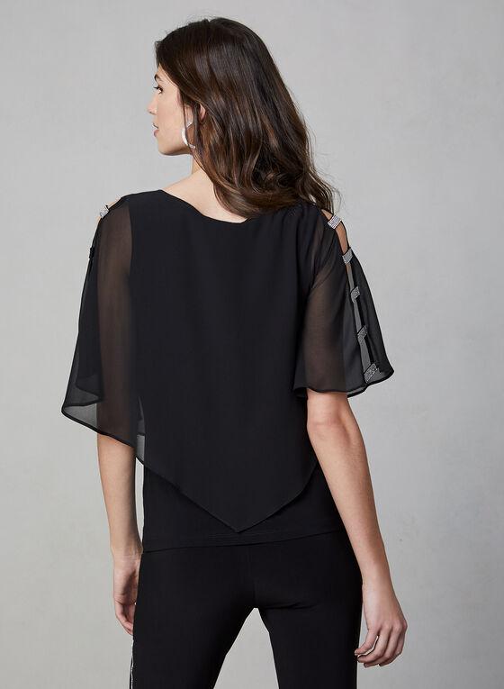Frank Lyman - Rhinestone Trim Kimono Top, Black