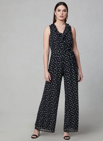 Donna Ricco - Polka Dot Print Jumpsuit, Black, hi-res,  wide leg, chiffon, sleeveless, spring 2019