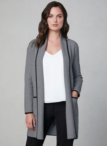 Herringbone Print Cardigan, Grey, hi-res,  long sleeves, textured, knit, shawl collar, contrast trim, pockets, fall 2019, winter 2019