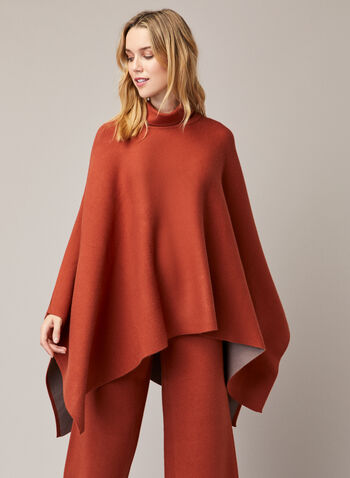 Turtleneck Drape Poncho, Brown,  fall winter 2020, Gabby Isabella, poncho, turtleneck