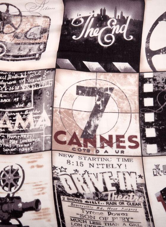 Movie Inspired Print Scarf, Grey, hi-res
