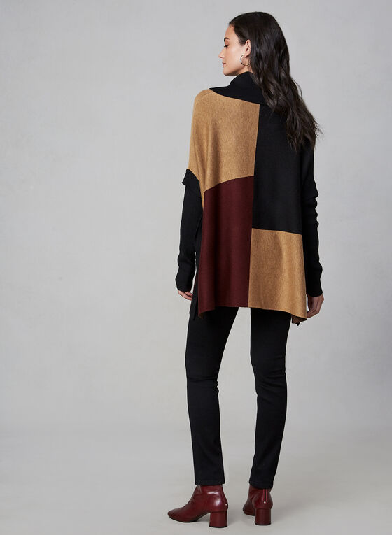 Colour Block Knit Poncho, Black