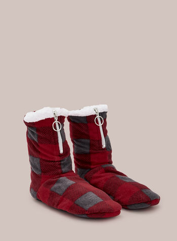 Tartan Print Boot Slippers, Red,  fall winter 2020, plush, slippers, pyjama