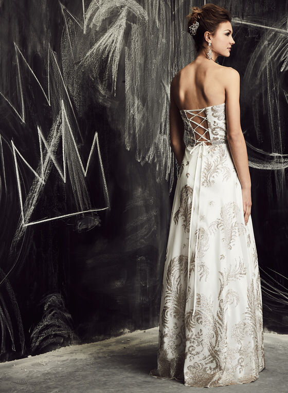 Cachet - Glitter Embellished Tulle Gown, White