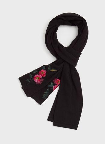 Echarpe aspect laine avec broderies et pompons, Noir, hi-res