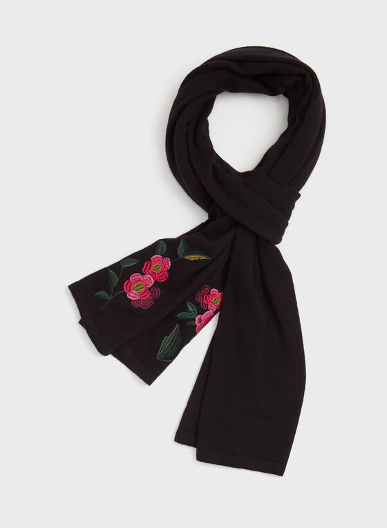 Embroidered Tassel Scarf, Black, hi-res
