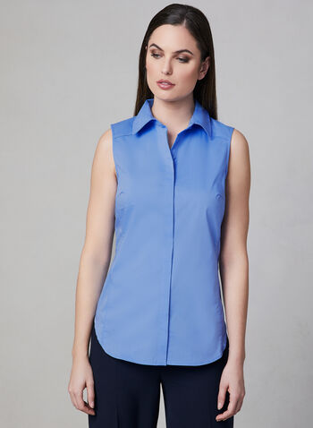 Sleeveless Button Up Blouse, Blue, hi-res
