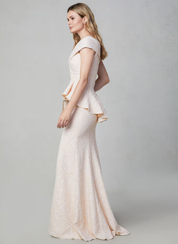 Terani Couture - Robe sirène à corsage péplum, Rose, hi-res,  robe de soirée, corsage péplum, coupe sirène, jacquard, sans manches, épaules dénudées, fente, automne hiver 2019