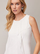 Sleeveless Layered Chiffon Top, Off White