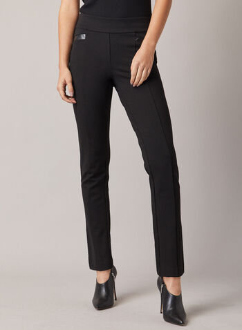 Madison Slim Leg Pants, Black,  pants, madison, slim, faux leather, stitching, ponte di roma, pleats, high rise, fall winter 2020