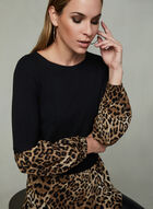 Leopard Print Fooler Blouse, Black, hi-res