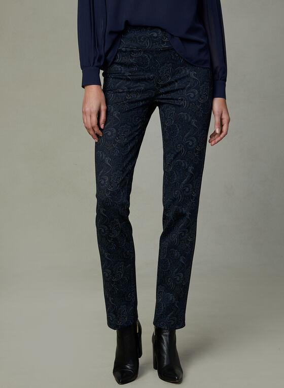 Pantalon pull-on à motif tapisserie, Bleu, hi-res